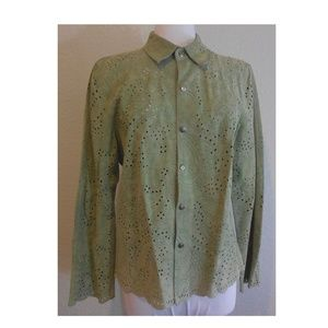 Provence d'amour Medium Green Suede Leather Jacket